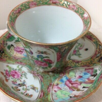 19th century Chinese porcelain tea cup & bowl famille rose canton Qing dynasty