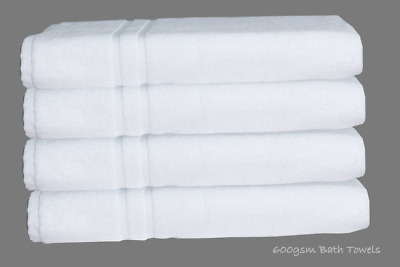 4X White Hotel Quality 100% Pure Cotton Egyptian Big Towel Bath Towels 600 gsm