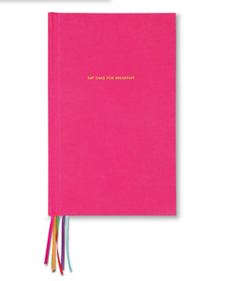 """Kate Spade New York Pink Cloth Hardcover Lined Journal, """"Eat Cake"""" 300 pages new"""