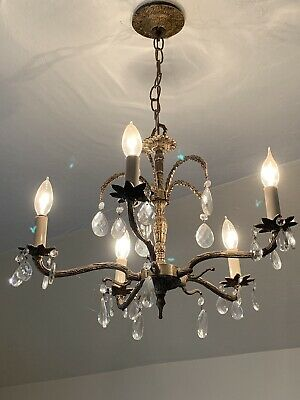 Vintage Small Antique Brass Crystal Chandelier Hang Light 29x16 Chain 12""