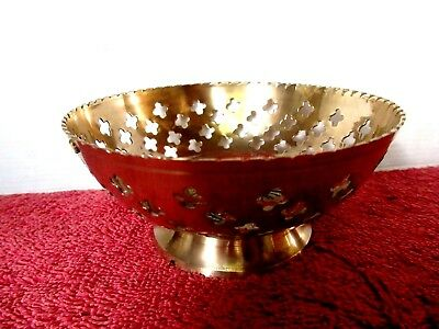 Beautifully  Polished  Vintage  Pierced  Brass  Sweets  Bowl