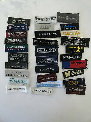 30 Necktie clothing labels Brand Names  Lot A vintage contemporary
