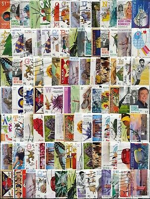 Australian 200 x $1.00 stamps Off paper Recent Kiloware Used/Bulk