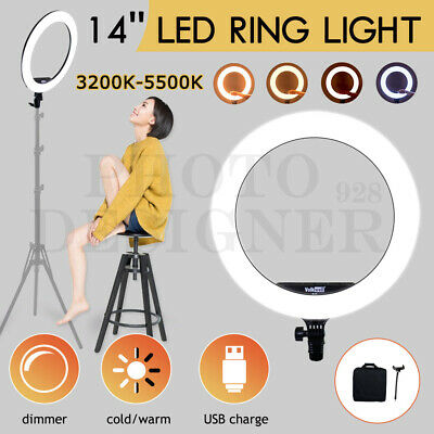 "14"" 5500K Dimmable Diva LED Ring Light Diffuser Phone Stand Make Up Circle Lamp"