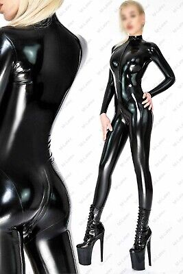 907 Latex Rubber Gummi Catsuit front crotch step-zipper customized unitard 0.4mm
