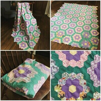 85x63in Vintage Grandmother's Garden Quilt Top Purple and Turquoise
