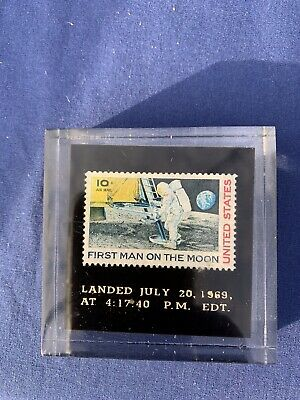 APOLLO 11 FIRST MAN ON THE MOON 50th Anniversary Space Stamp In Acrylic Case