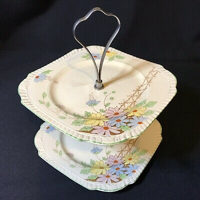 Vintage Art Deco Burgess Ware Hand Painted Two Tier Cake Stand
