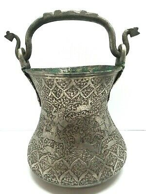 Antique Handmade Hammered Etched Asian Ornate Artisan Bucket Far East Chinese