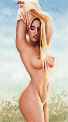 Original Watercolor painting - Nude - Pastel - 9.5 x 5.5 inches