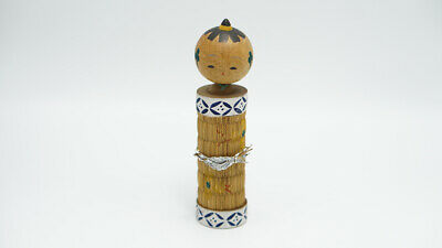 Kokeshi Vintage Wood Doll Hand Painted Head Round Mat Papyrus In Body Decoration