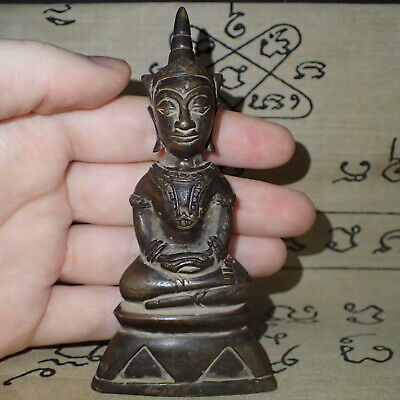 Rare Khmer Phra Chai Ngang Deity from Cambodia Ghost Image Old Figure relic