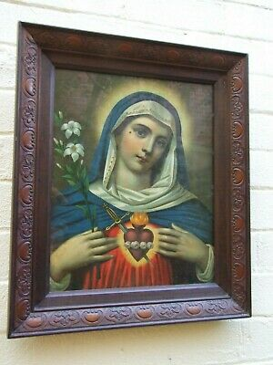 Antique Religious Picture  Holy Open Heart Virgin Mary  Carved Frame Vnt .1900's