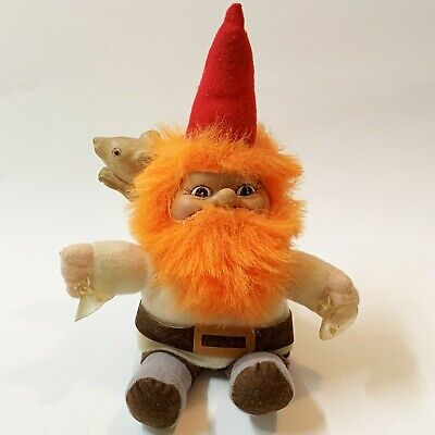 1988 Vintage Red Bearded Dutch Troll 26cm Soft Toy - with Suction Cups