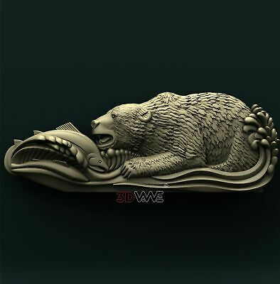 3d STL Model Relief for CNC Router _ Fishing Bear _0100