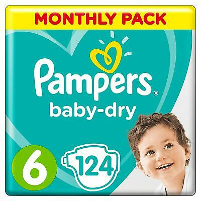 Pampers Baby-Dry Size 6, 124 Nappies, 13-18 kg