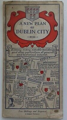 Vintage Dublin City Map with full colour illustrations to the city's history.