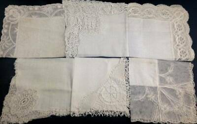 6x Antique White Bobbin Lace Edge Handkerchief Hanky Hankies Wedding Bridal