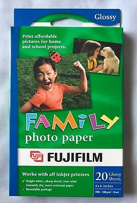 Lot of 3 Fujifilm Family Photo Paper 20 Inkjet Printer Fuji Glossy Sheets 4X6