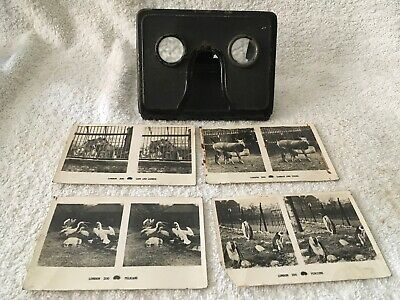 Antique Folding Metal 3D Stereoscope Viewer & London Zoo Slides