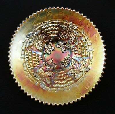 Northwood Marigold Grape & Cable Carnival Glass Plate    Bw0527