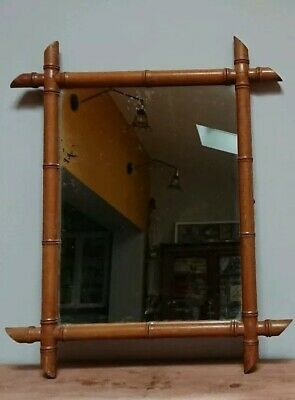 LARGE Antique Vintage Old Wooden Wall Hanging Mirror Decorative bamboo original