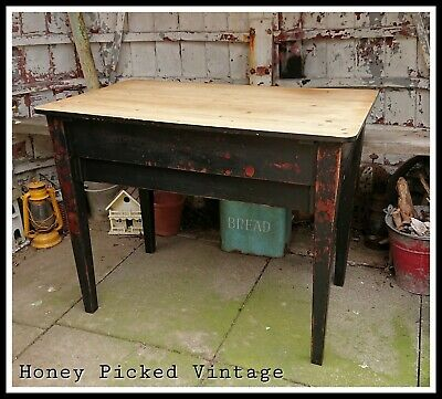 Black rustic pine scrub top kitchen prep table desk office vintage industrial