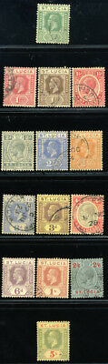 St. Lucia 1921/24 Sg 91-97+99-105 Sc 76-89 Vf Used -  Complete Set 14 Stamp