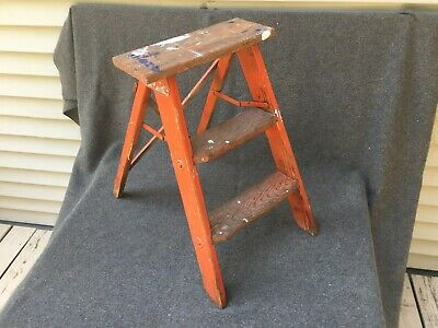 Antique Two Step Foldable Wood Ladder. Original Red Paint With Great Patina.