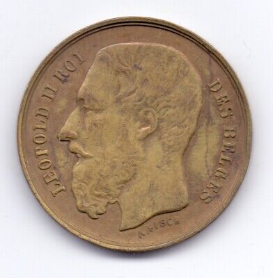 1888 Belgium Bruxelles International Exhibition Medallion Belges Leopold II