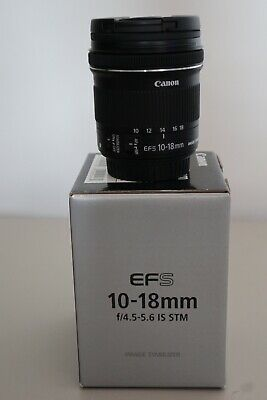 Canon EF-S 10-18mm F4.5-5.6 IS STM Autofocus Zoom Lens With Both Lens Caps & Box