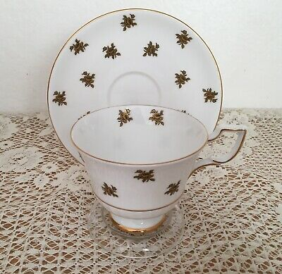 Tuscan Fine English Bone China Rare Footed Cup & Saucer Gold Roses Gold Trim