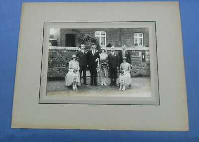 Vintage Mounted Wedding Photo Photograph Bride And  Groom And  Parents 1930s