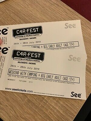 Carfest North 2 X Adult Weekend With Camping Plus Big Early Tickets.
