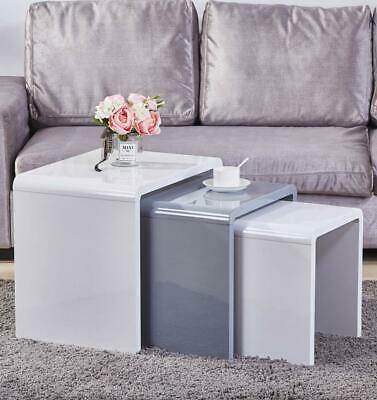High Gloss Nest Of 3 Coffee Tables Side End Table Set Living