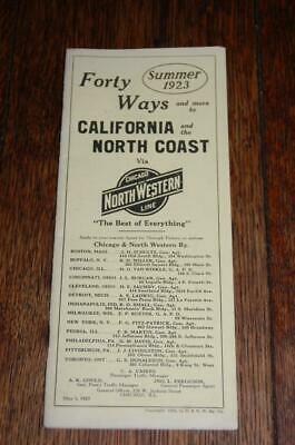 Rare 1923 Chicago & North Western Railroad Line Ca. & The North Coast Timetable