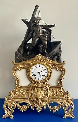 Antique early 1800's French Empire Figural Ship Scene Gilt Bronze Mantle Clock