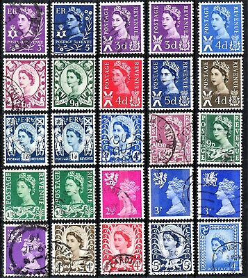 GB QEII Selection of 25 QEII Regional Stamps – Mixed Fine Used/Mint