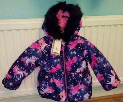 New TU Baby Girl Navy Hooded Winter Coat With Pink Mix Unicorns Age 9/12 Months