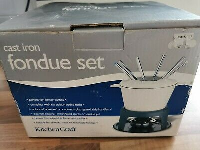 New Unused Kitchen Craft blue Cast Iron Fondue Set With Forks