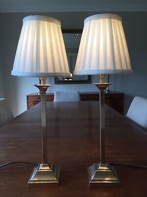 Pair of Quality Vintage Solid Brass Laura Ashley Bedside/Table Lamps