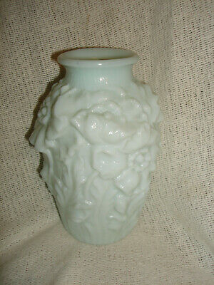 Antique Art Nouveau - Milk Glass Embossed POPPY Flower Vase VTG