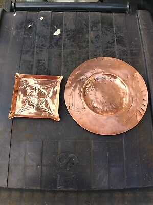 2 Copper Arts & Crafts Dishes Glasgow School Margaret Gilmour Newlyn Celtic