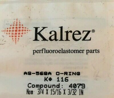 "116 Kalrez Perfluoroelastomer O-Ring 4079 Compound 75A Durometer 3/4"" x 15/16"