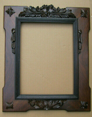 "ANTIQUE FRENCH CARVED OAK RIBBON CREST FRAME for picture or mirror  16"" x 12"""