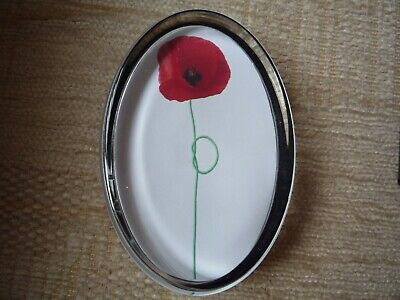Red Poppy Flower Glass Daphne Pain Oval Paperweight New Genuine