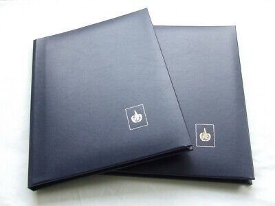 Pair Of Blue A4 6 Black Pages Stamp Stockbooks, Excellent Condition