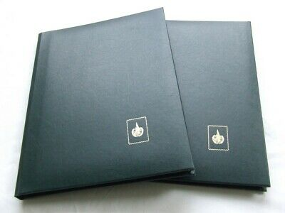 Pair Of Green A4 6 Black Pages Stamp Stockbooks, Excellent Condition