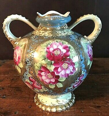 """Antique Vintage Nippon Hand Painted Handled Floral and Gold Gilt Accents Vase 8"""""""