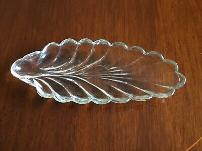 Vintage Heavy Leaf Shaped Glass Dish